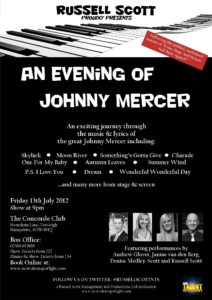 An Evening of Johnny Mercer - The Concorde Club - 13th July 2012 (PRINTER)
